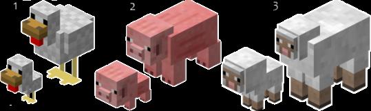 Galinha, Porco, Ovelha - Minecraft