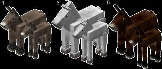 Burros, cavalos e Mulas - Minecraft